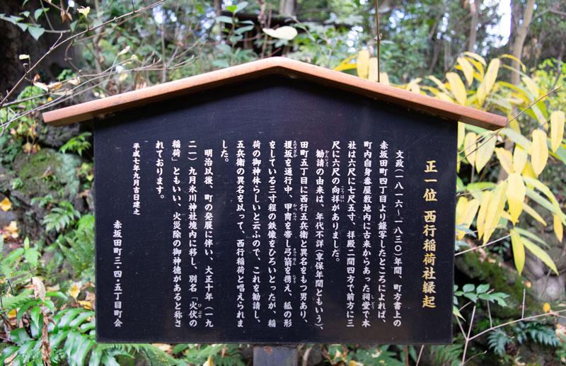 西行稲荷神社の由緒書き