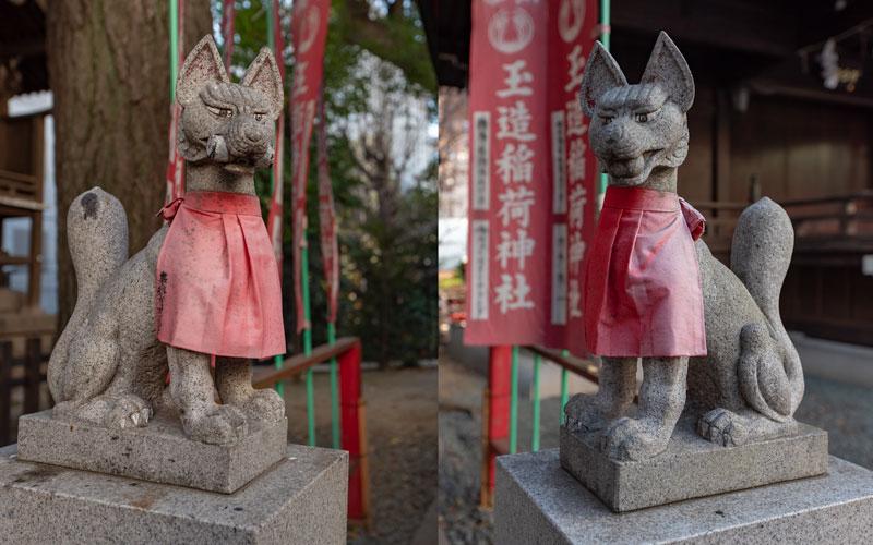金王八幡宮の玉造稲荷神社の狐