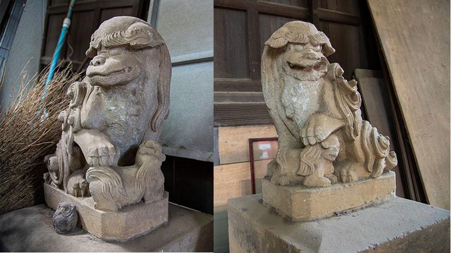 六所神社の旧狛犬