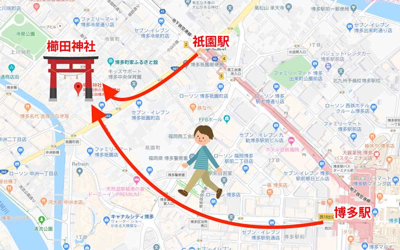 櫛田神社 道のり
