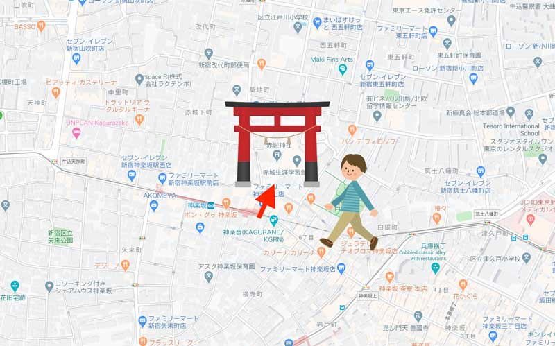 赤城神社までの道のり